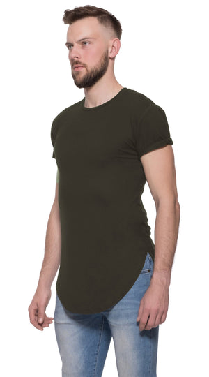 TheG Man Viscose Basic 1/2 Long Tee // khaki
