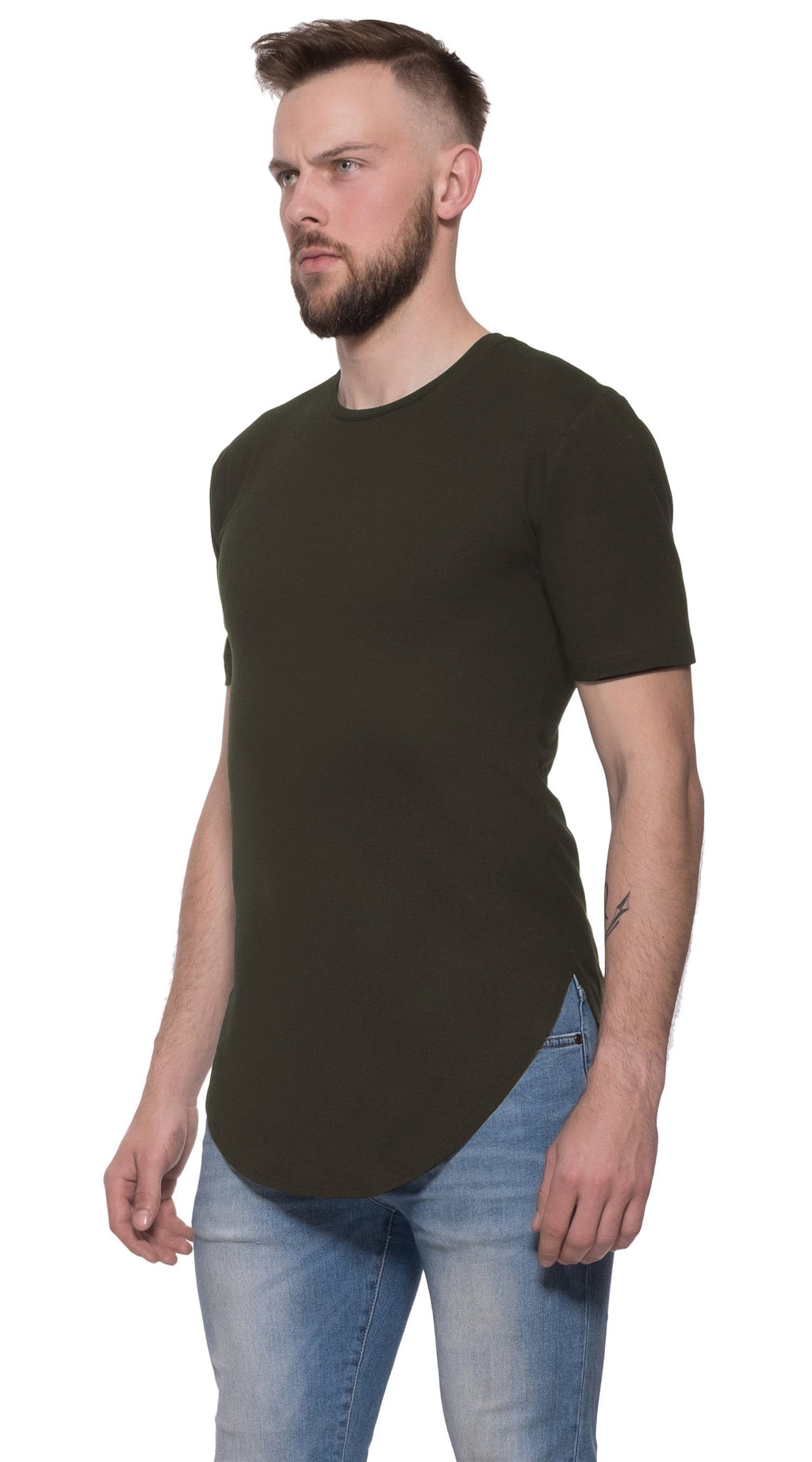 TheG Man Viscose Basic 2/2 Long Tee // khaki