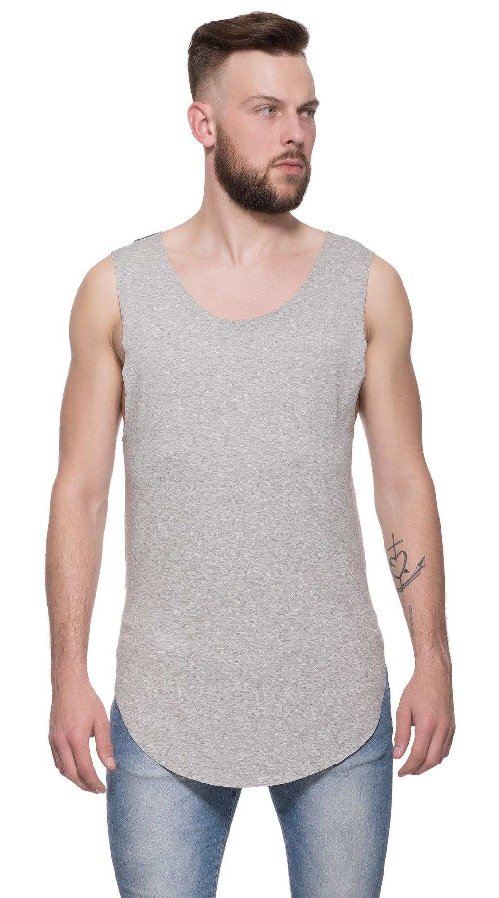 TheG Man Viscose Long Tank // grey