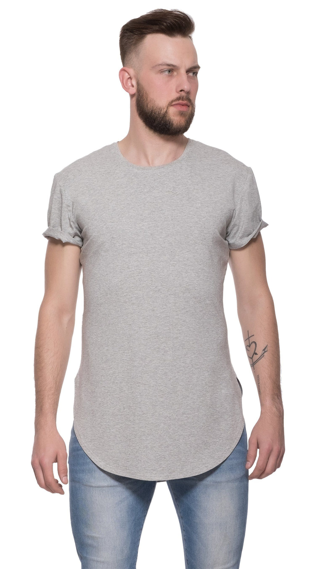 TheG Man Viscose Basic 1/2 Long Tee // grey