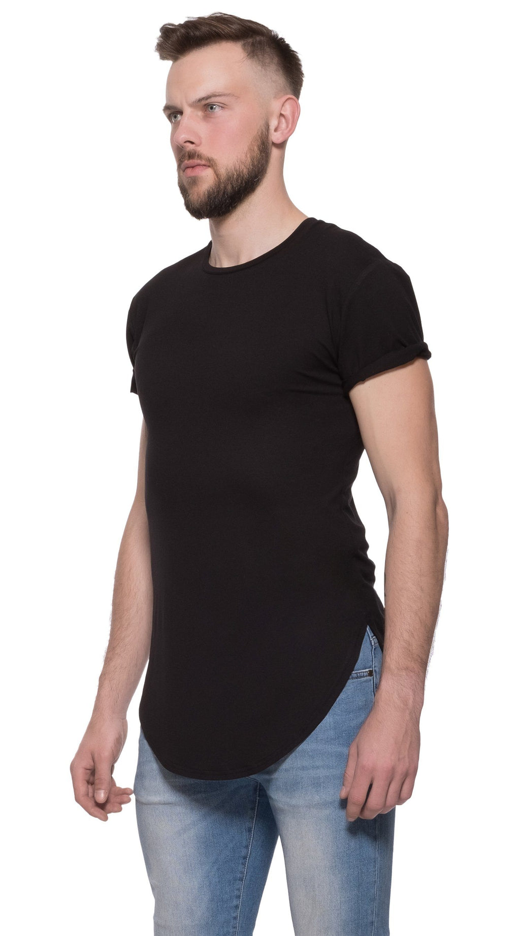 TheG Man Viscose Basic 1/2 Long Tee // black