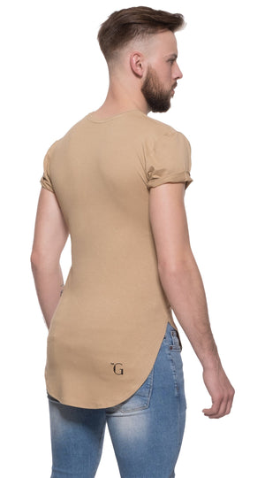 TheG Man Viscose Basic 1/2 Long Tee // camel