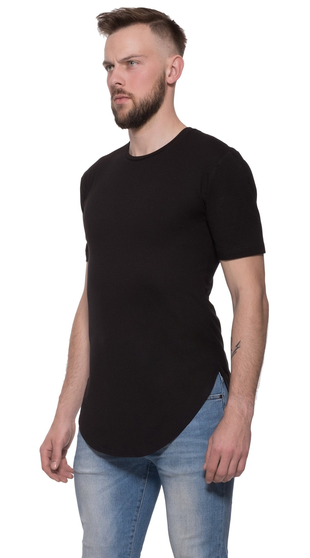 TheG Man Viscose Basic 2/2 Long Tee // black