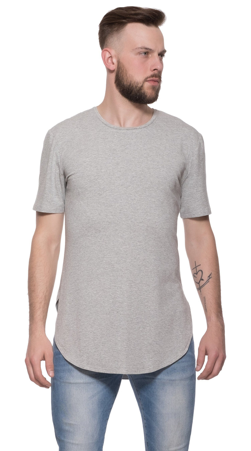 TheG Man Viscose Basic 2/2 Long Tee // grey