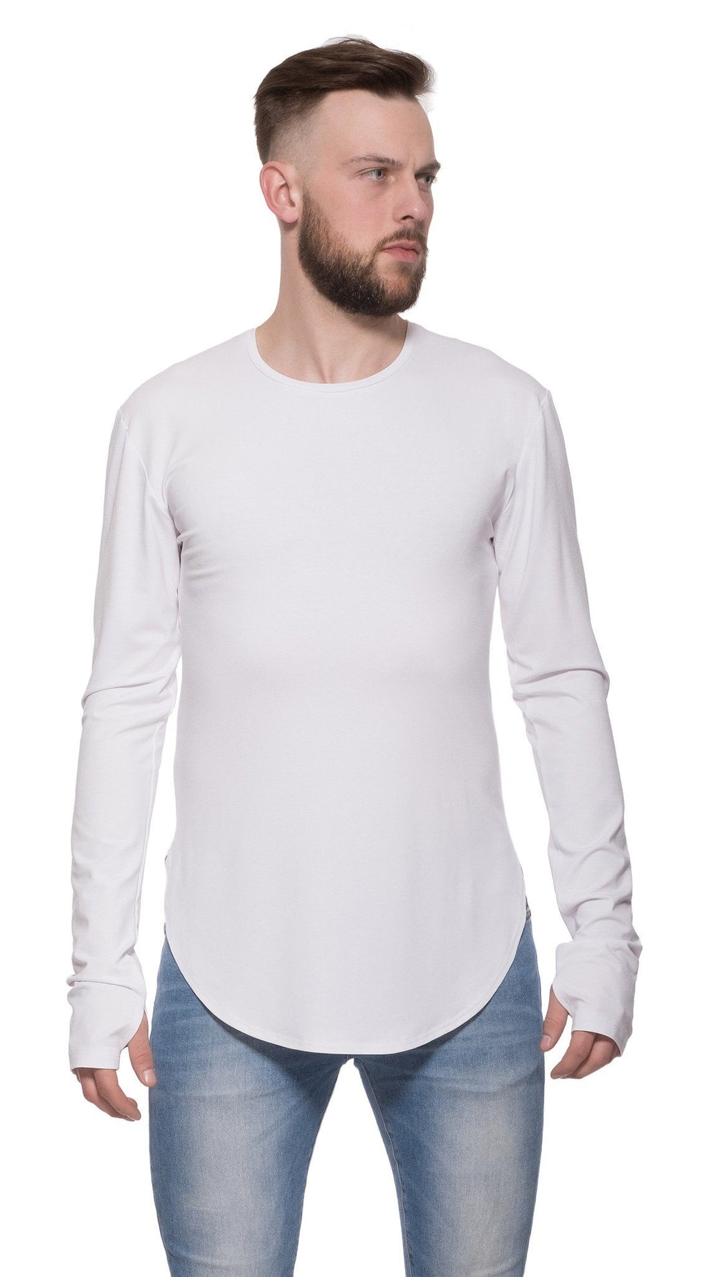 TheG viscose handmade designer under long tee white
