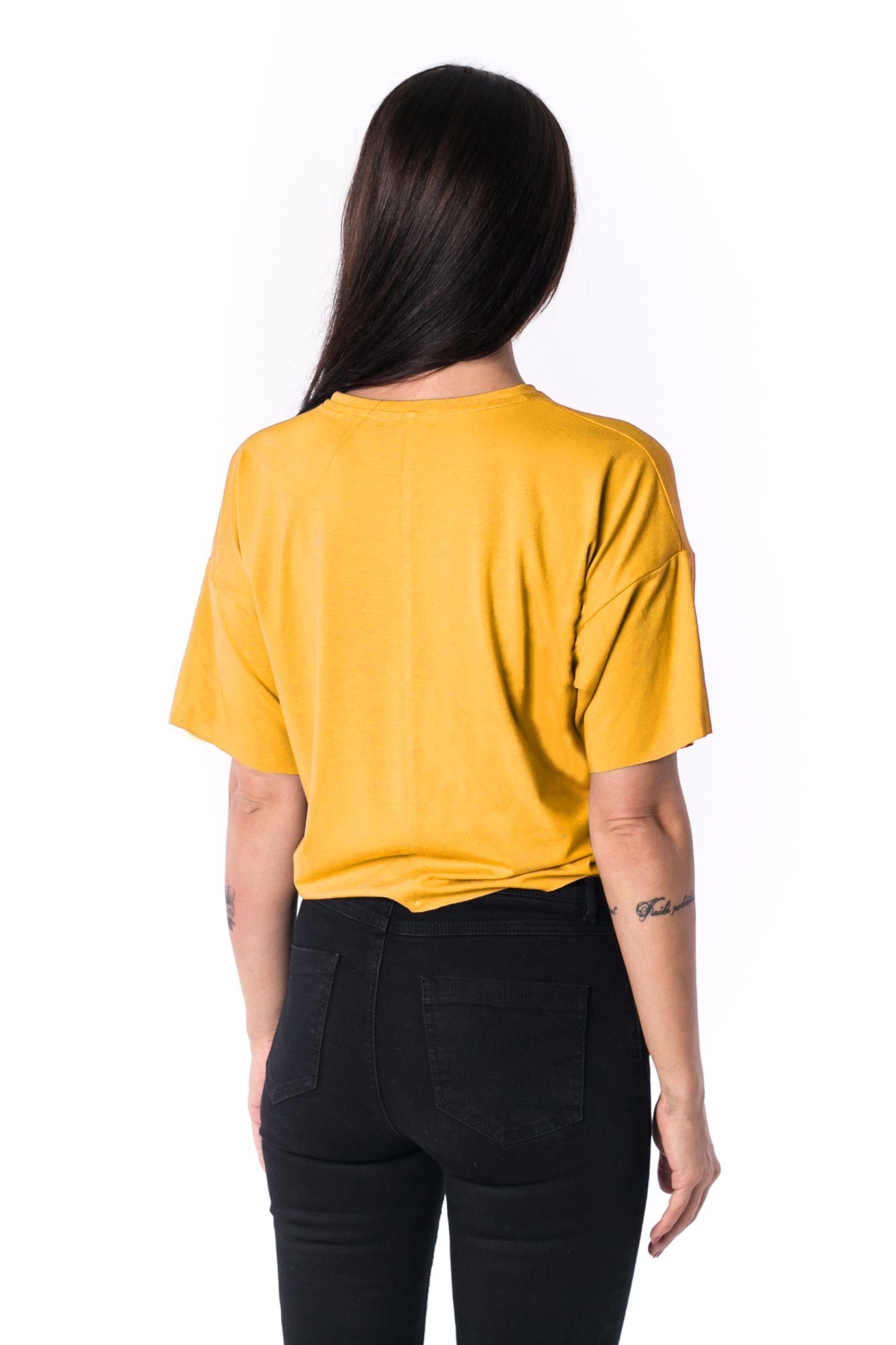 Woman Panelled Oversized Cropped Tee 17 // yellow