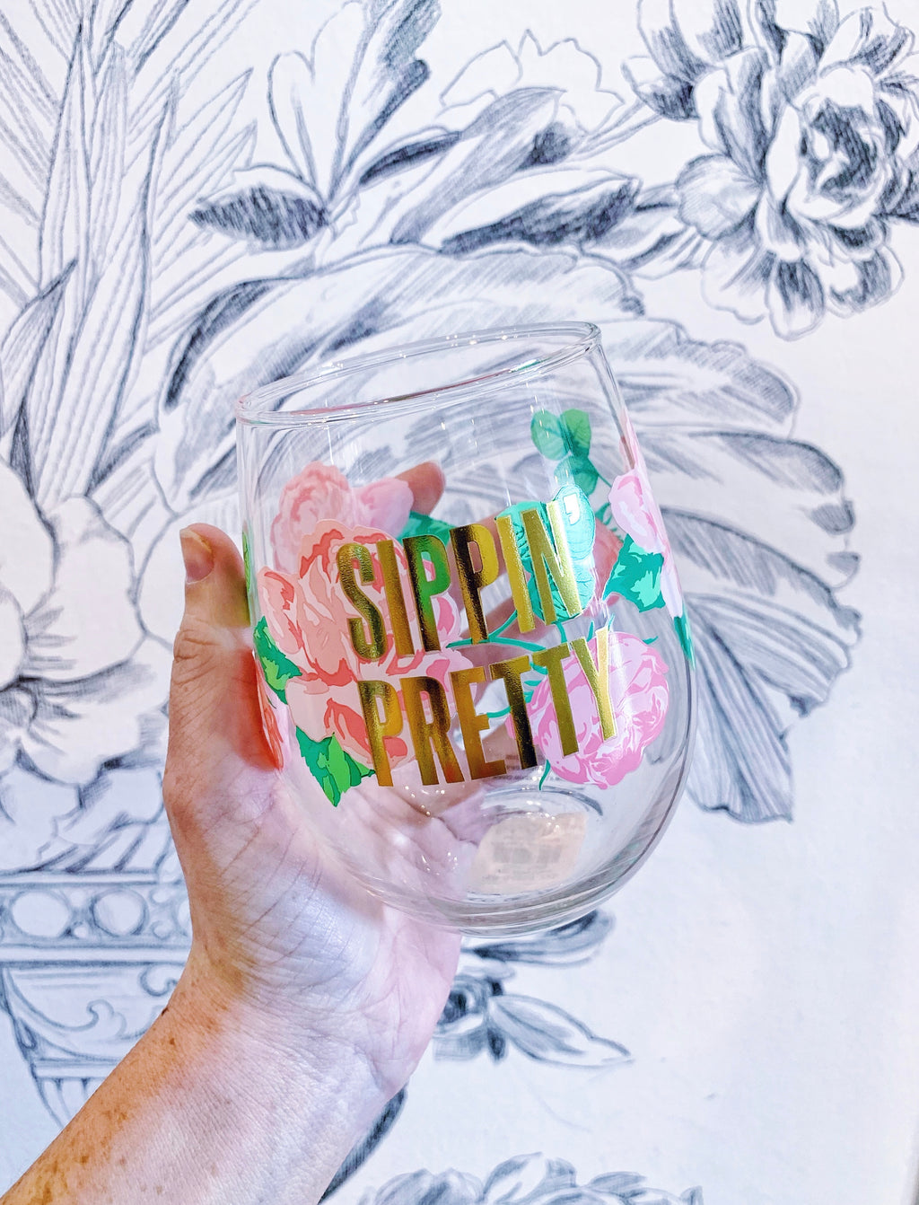Sippin' Pretty Floral Wine Glass