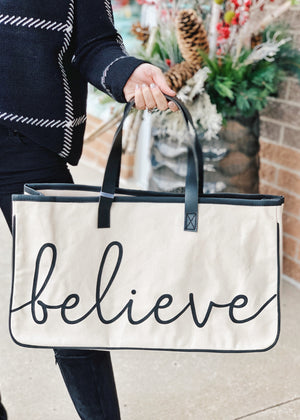 Believe Holiday Canvas Tote