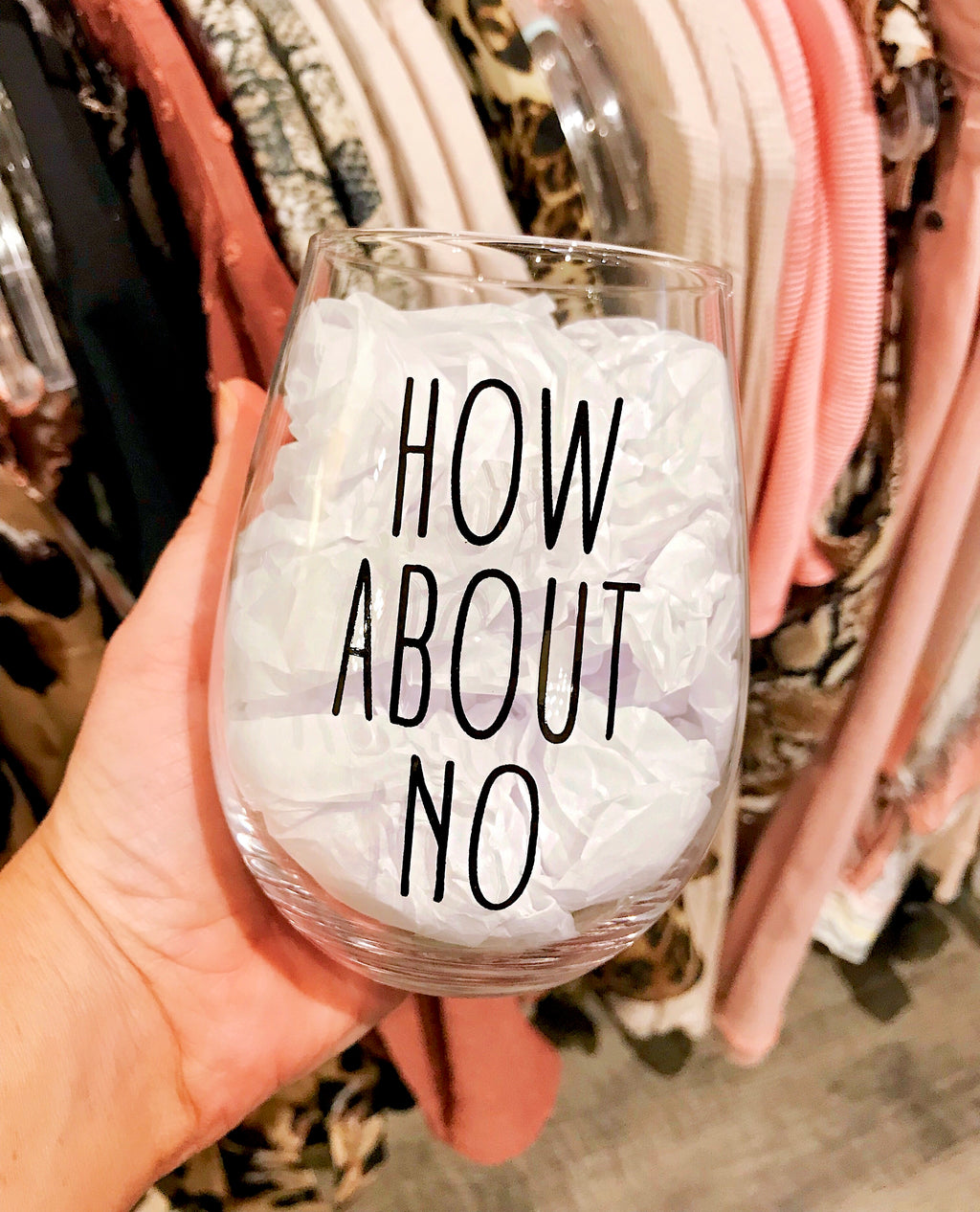 'How About No' 16 oz Stemless Wine Glass