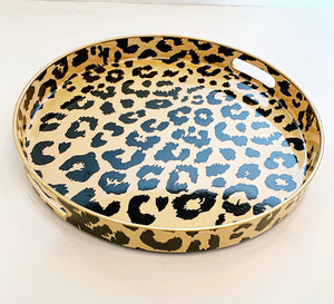 "Round 12 ""Cheetah Tray  with Brushed Gold Trim"