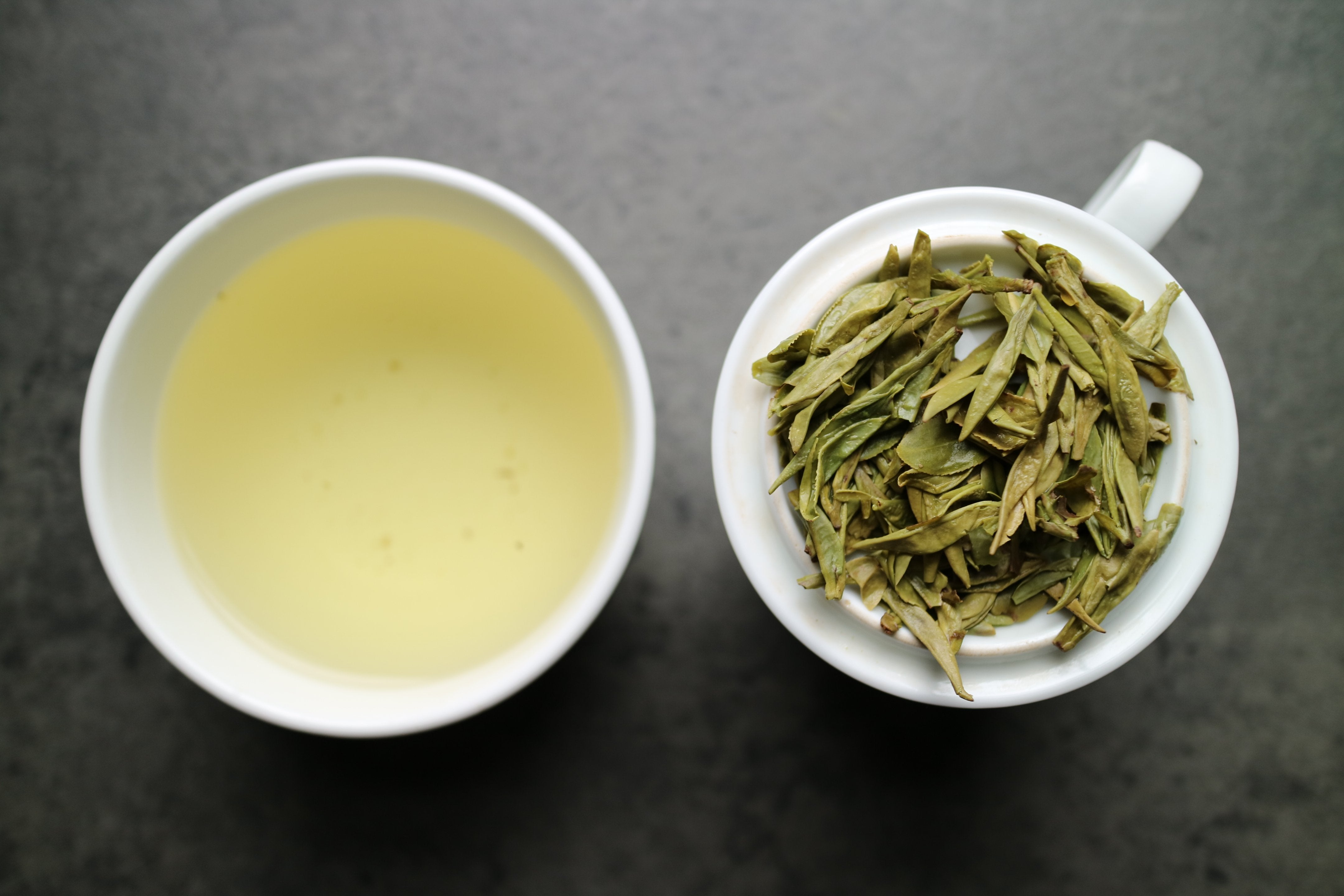 Pre-Rain Dragon Well Imperial grade - She Fang Tea - Wet leaf