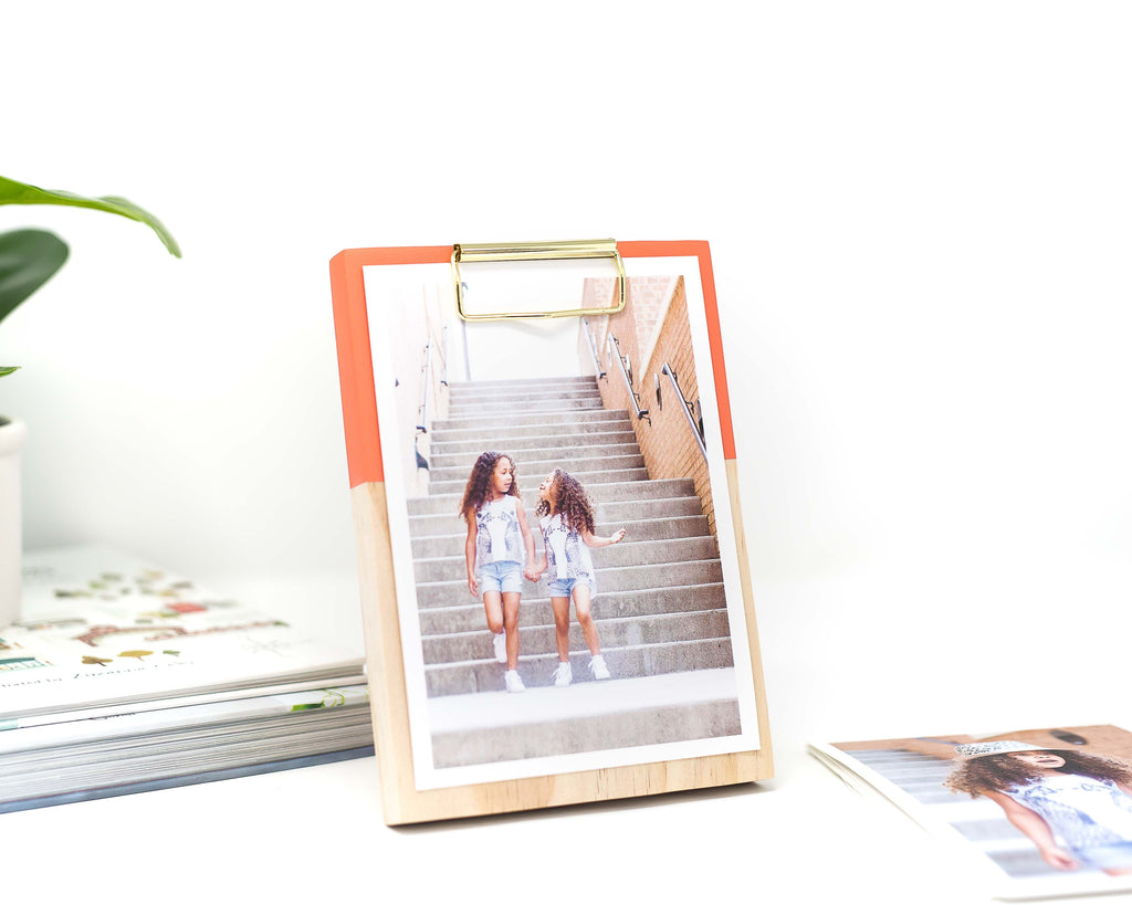 LIVING CORAL COLOR BLOCK WOODEN CLIPBOARD