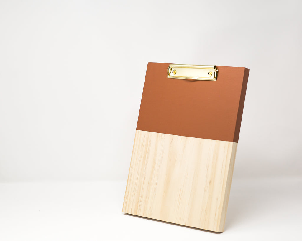 LARGE BURNT ORANGE COLOR BLOCK CLIPBOARD