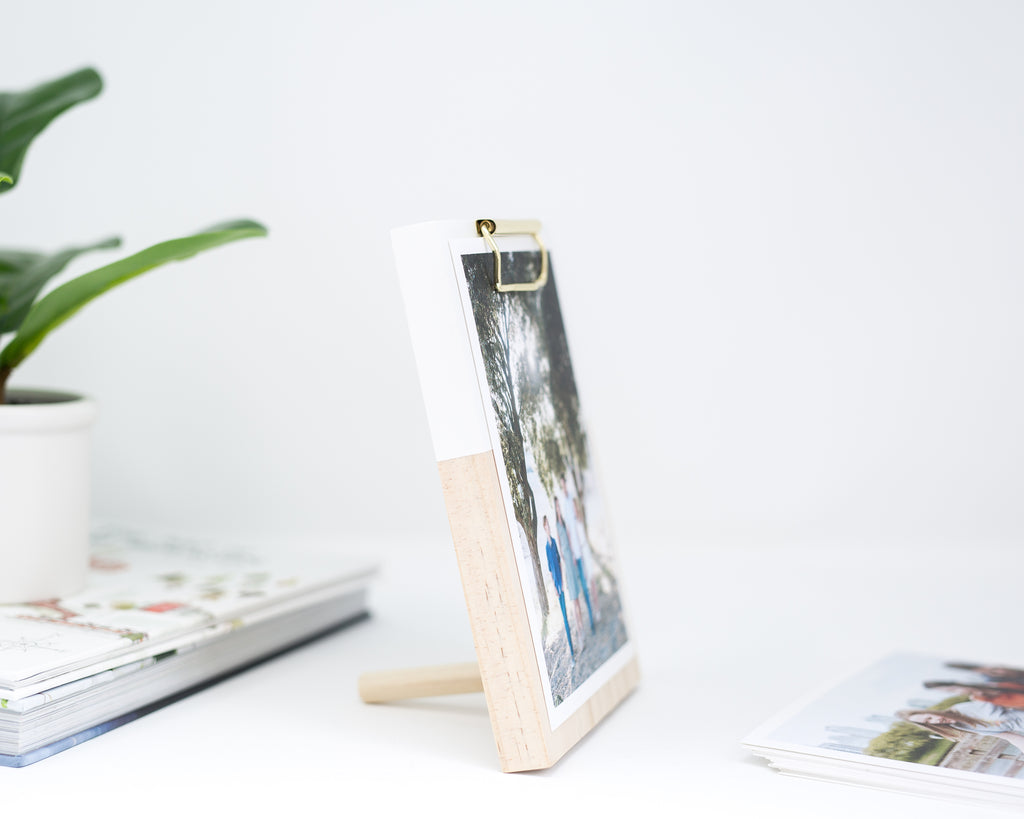 WHITE COLOR BLOCK WOODEN CLIPBOARD