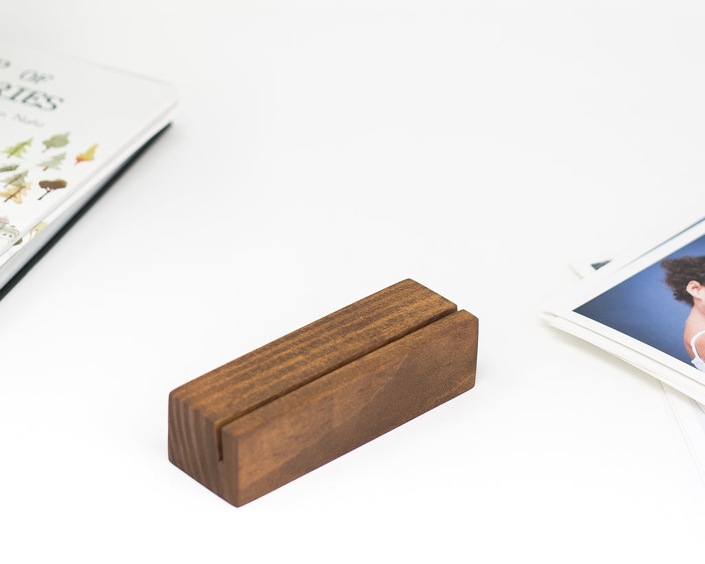 5 INCH COCOA FINISH WOODEN CARD HOLDER