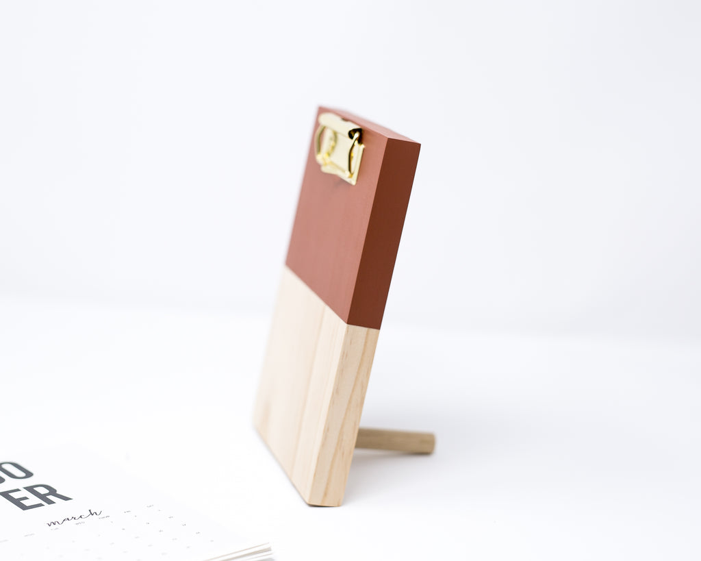 RUST COLOR BLOCK WOODEN CLIPBOARD