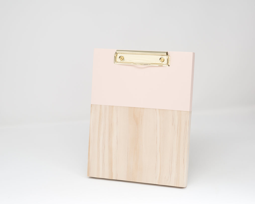 BLUSH COLOR BLOCK WOODEN CLIPBOARD