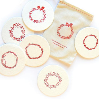 Letterpress Merry Wreaths Christmas Coasters