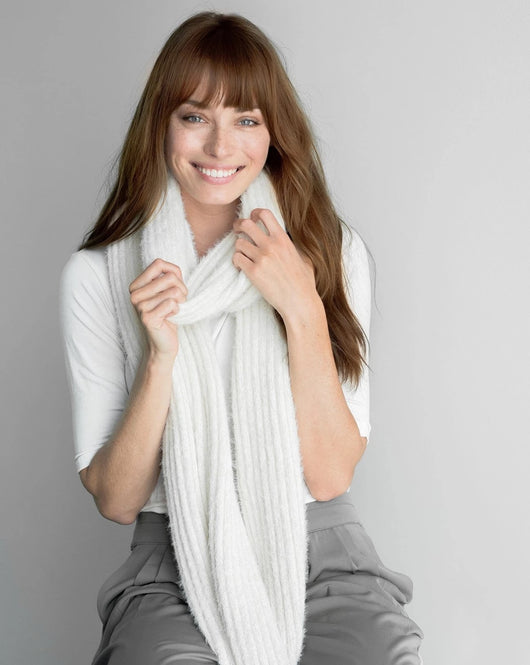 Winter White Ribbed Scarf