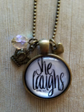 "She Laughs - Proverbs 31:25 - 1"" Round"