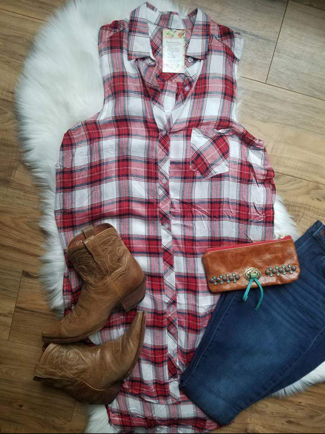 Small Town Red Plaid Tunic