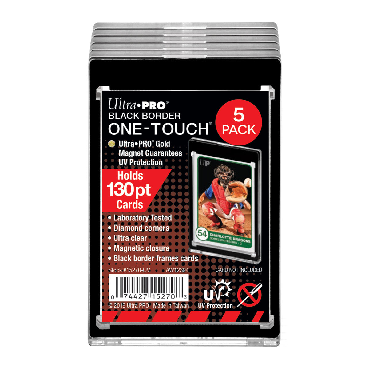 130pt Black Border One Touch Magnetic 5pack