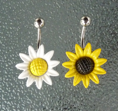 Stainless steel sunflower belly ring, stainless steel sunflower navel ring, dangle belly ring, flower belly ring, dangle navel ring, navel ring, flower navel ring, BR88