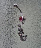 Pink belly ring, dangle belly ring, mermaid belly ring, mermaid navel ring, stainless steel navel ring, stainless steel belly ring BR54