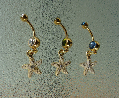starfish Stainless steel gold belly ring, starfish navel ring, dangle navel ring, dangle belly ring, belly ring, navel ring, starfish BR72