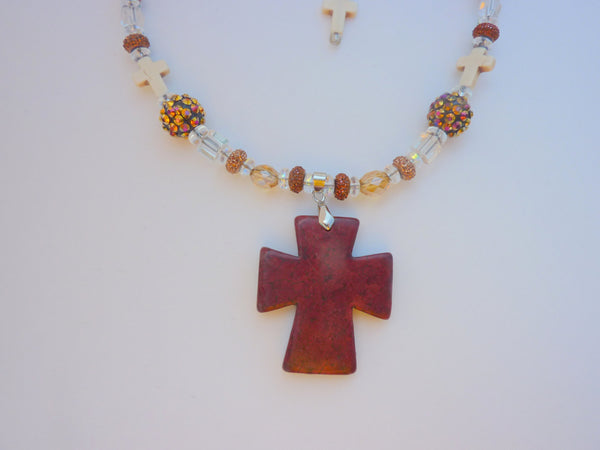 Brown cross choker necklace, cross, cross necklace, cross jewelry, Amber jewelry, pendant, pendant necklace, friend gift, statement necklace