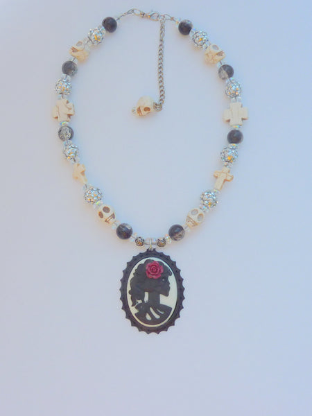 Cameo skull pendant choker, Black skull necklace, goth, sugar skull, sugar skull necklace, statement jewelry, jewelry, skull