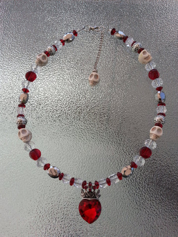 Silver and ruby red crystal heart pendant choker necklace, skull jewelry, heart jewelry, statement necklace, statement jewelry, necklace