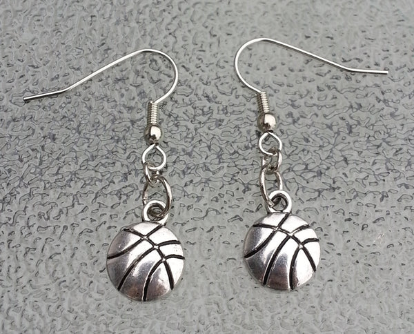 Silver metal basketball earrings, basketball team gifts, basketball team, girls basketball team, basketball coach gift, basketball fan gift