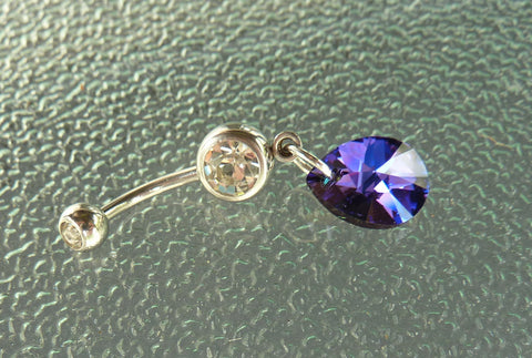 Swarovski crystal Stainless steel belly ring, stainless steel navel ring, dangle navel ring, dangle belly ring, belly ring, navel ring, BR29