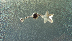 Stainless steel clear starfish belly ring, stainless steel starfish navel ring, starfishbelly ring, navel ring, belly ring, belly ring, BR25