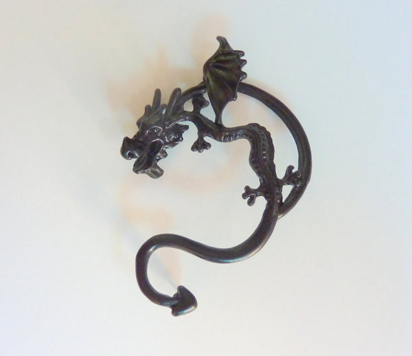 Black dragon ear cuff, dragon ear cuff, black dragon ear piercing, dragon ear piercing, dragon earrings, black dragon earring, piercing,EC39