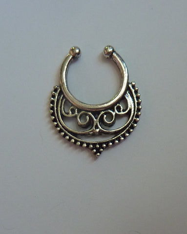 Silver Fake septum ring, fake nose ring, silver fake nose ring,  fake nose ring, silver fake septum ring, septum ring, silver septum ring,S8