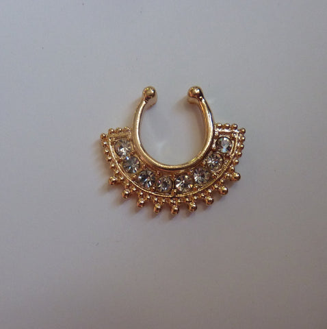 Gold Fake septum ring, fake nose ring, gold fake nose ring with clear crystals, clear crystals fake nose ring, fake septum ring, septum, G22