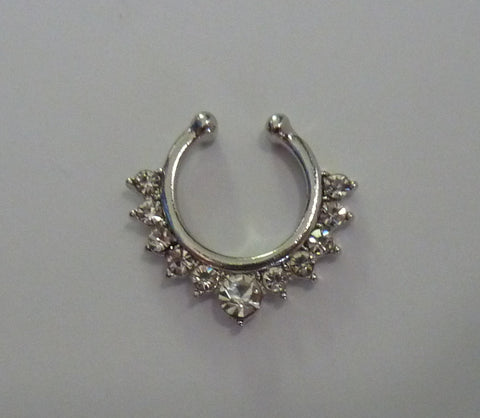 Fake septum ring, fake septum ring clear crystals, fake nose ring, fake nose ring with clear crystals, fake nose ring, fake septum ring, S36