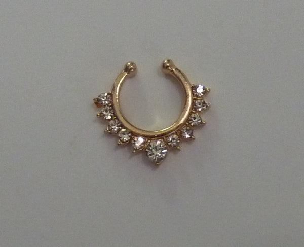 Gold Fake septum ring, gold crystal fake septum ring, gold fake nose ring, fake crystal nose ring, fake nose ring, gold septum ring, G38