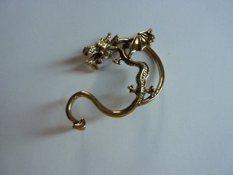Gold dragon ear cuff, dragon ear cuff, gold dragon ear piercing, dragon ear piercing, dragon earring, gold dragon earring, dragon, ear EC37
