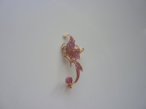 Butterfly gold ear cuff, crystal ear cuff, gold no piercing ear cuff, ear cuff no piercing, gold crystal ear cuff, ear cuff, butterfly, EC8