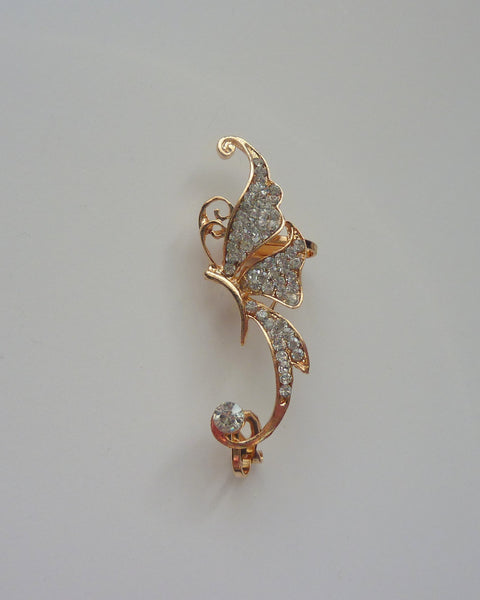 Butterfly gold ear cuff, crystal ear cuff, gold no piercing ear cuff, ear cuff no piercing, gold crystal ear cuff, ear cuff, butterfly, EC7