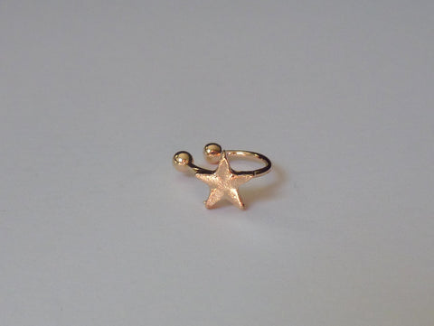 No piercing gold ear cuff, star ear cuff, fake nose ring, fake septum ring, ear cuff no piercing, gold and crystal ear cuff, ear cuff, EC11