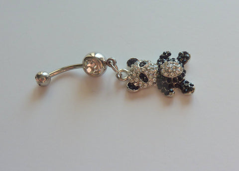 Stainless steel panda belly ring, stainless steel panda navel ring, dangle belly ring, panda belly ring, dangle navel ring, navel ring BR49