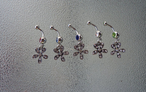 Flower stainless steel belly ring, flower navel ring, dangle navel ring, dangle belly ring, belly ring, navel ring, flower jewelry BR80