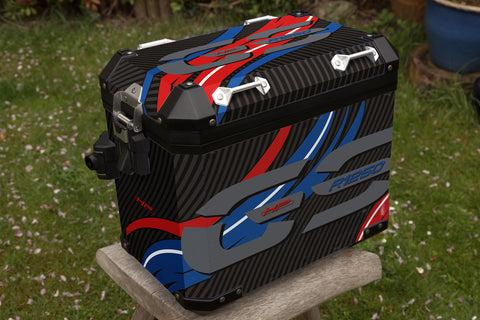 BMW R1250 GSA Rallye HP Red, White and Blue Waves Panniers & Top Box