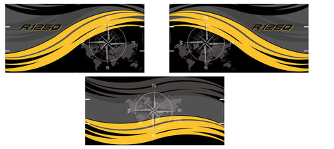 BMW R1250 GS Exclusive Vario Pannier Decals - Black, Grey, Yellow Swoosh