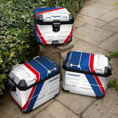 BMW R1250 GSA Rallye HP Red, White and Blue Panniers & Top Box