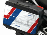 BMW R1250 GS Vario Pannier Decals - RallyeHP Red, White and Blue